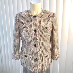 Talbots Fringe Hemmed Tweed Dress Blazer